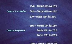 Datas dos seminários do Enade