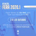 NTI alerta feras 2020.1 da Ufal sobre automatrícula pelo Sie Web