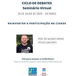 """ICS debate em evento virtual o tema """"Reinventar a participação na cidade"""""""
