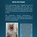 Ufal e Campus Arapiraca lamentam morte do estudante Aélio de Jesus