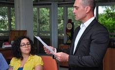 Diretor do DAP, Frederich Ebrahim, durante leitura do termo de Posse. Foto: Thiago Prado.