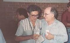 Professor Francisco Vieira Barros (esquerda) com o também matemático, professor Edmilson Pontes. Foto: Arquivo pessoal