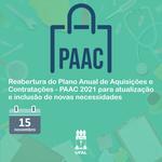 Pró-reitoria de Gestão Institucional reabre PAAC 2021 até 15 de novembro