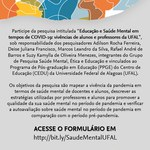 Pesquisa do Cedu vai avaliar saúde mental de alunos e docentes da Ufal