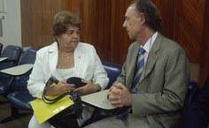 Reitora conversa com o coordenador nacional da Rede, Luiz Ari Messina