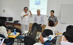 Eduardo Lyra, Roberaldo Carvalho e Luciano Barbosa em reunião com membros da 14ª Coordenadoria de Ensino