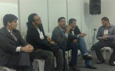 Da esquerda para direita: Dalson Figueiredo Filho (UFPE), Diego Freitas Rodrigues (Fits-AL), Denisson Silva (Ufal), Ranulfo Paranhos (Ufal) e Gabriel Setti (Ufal), participantes da mesa-redonda Eleições no Brasil: Análise Institucional