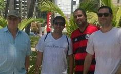 Professores Jean-Jacques Bourguignon (Université de Strasbourg) e João Xavier de Araújo Júnior, Luciano Grillo e Alfredo Dias