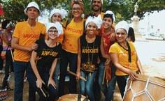 Coletivo Afrocaeté na concentração da praça Sinimbú