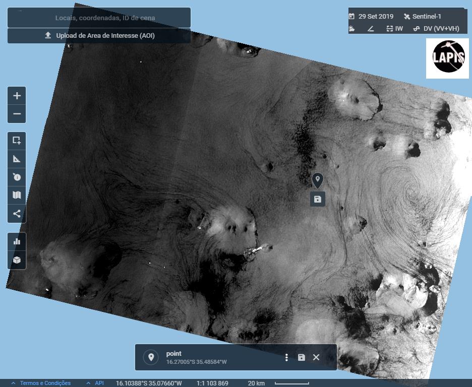 Imagem do satélite Sentinel-1A, de 29 de setembro, mostra manchas de óleo. Fonte: Lapis