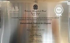 Selo OAB Recomenda, concedido ao curso de Direito da Ufal. Foto: Arquivo pessoal