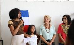 Lígia dos Santos, coordenadora do Neabi, e reitora Valéria Correia durante o evento. Foto: Renner Boldrino