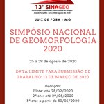 Inscrições abertas para o 13º Simpósio Nacional de Geomorfologia